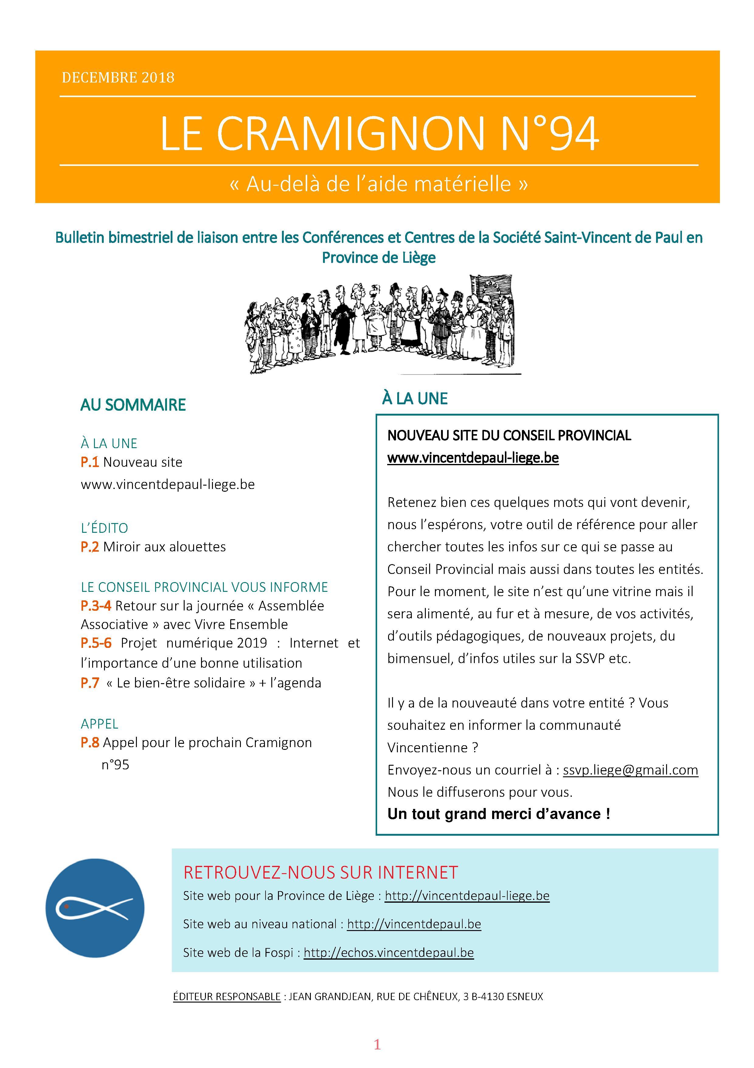 Bulletin mensuel Conseil Provincial de Liège Saint Vincent de Paul