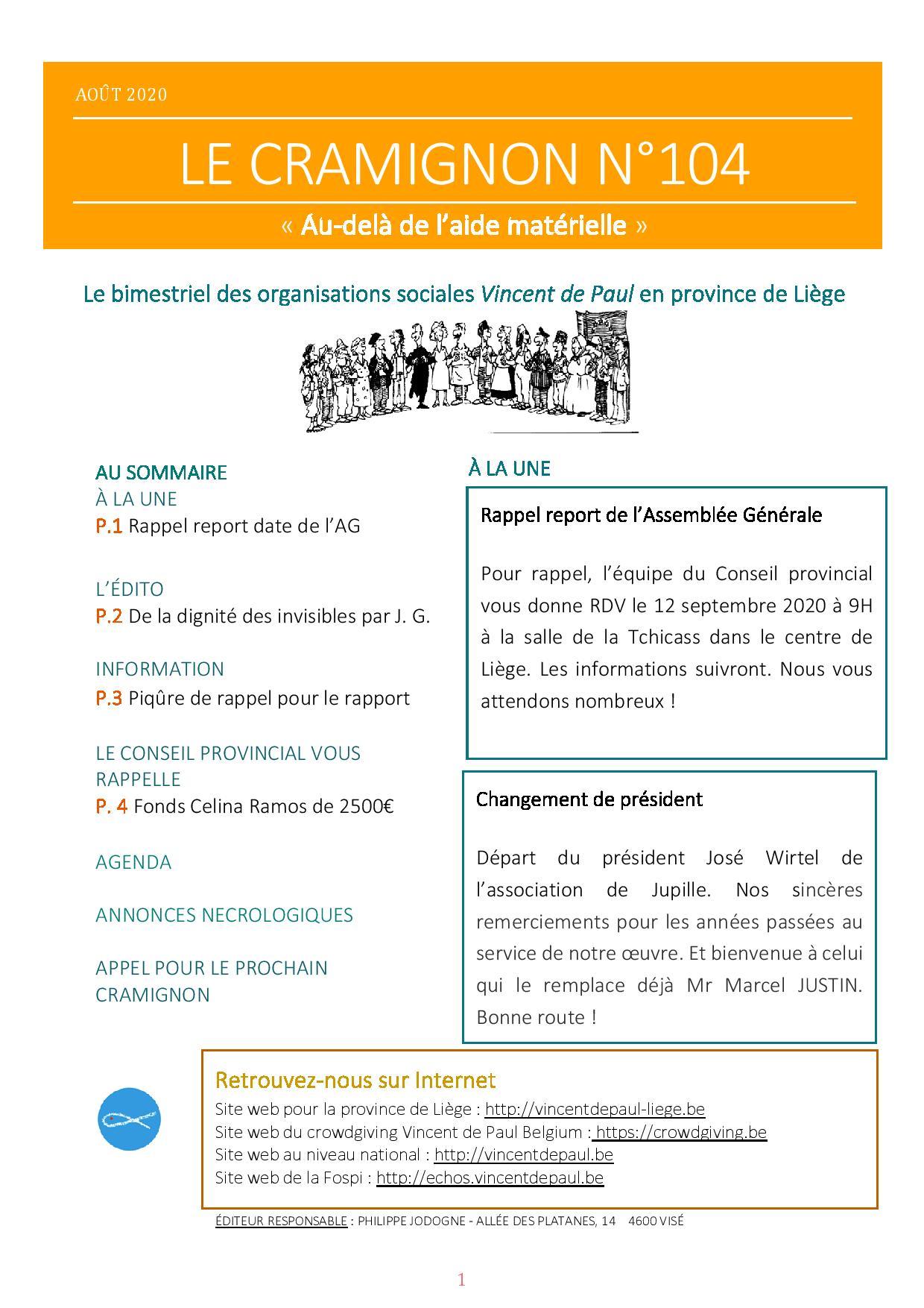 Le bimensuel n°104 Conseil provincial de Liège - Vincent de Paul ASBL-page-001