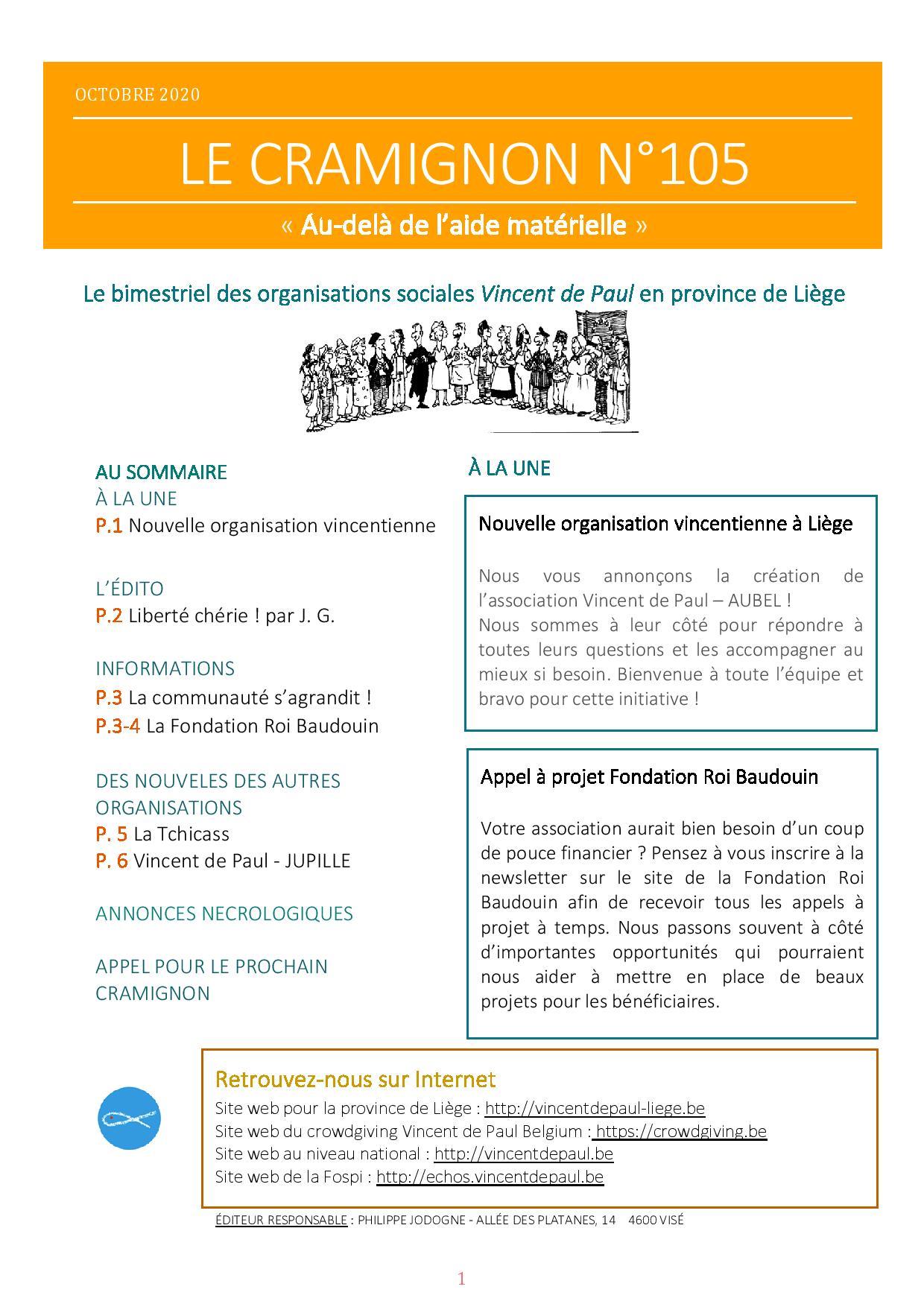 Le bimensuel n°105 Conseil provincial de Liège - Vincent de Paul ASBL-page-001